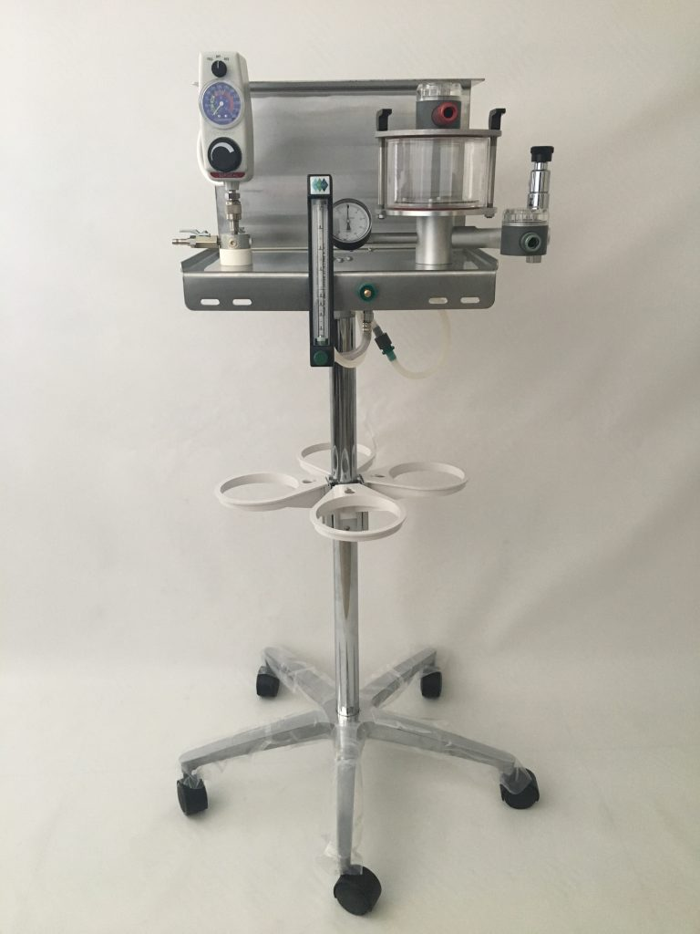 VT-110-X Small Animal Anesthesia Machine. Custom designed with the functionality of a built in surgical suction cart and regulator.